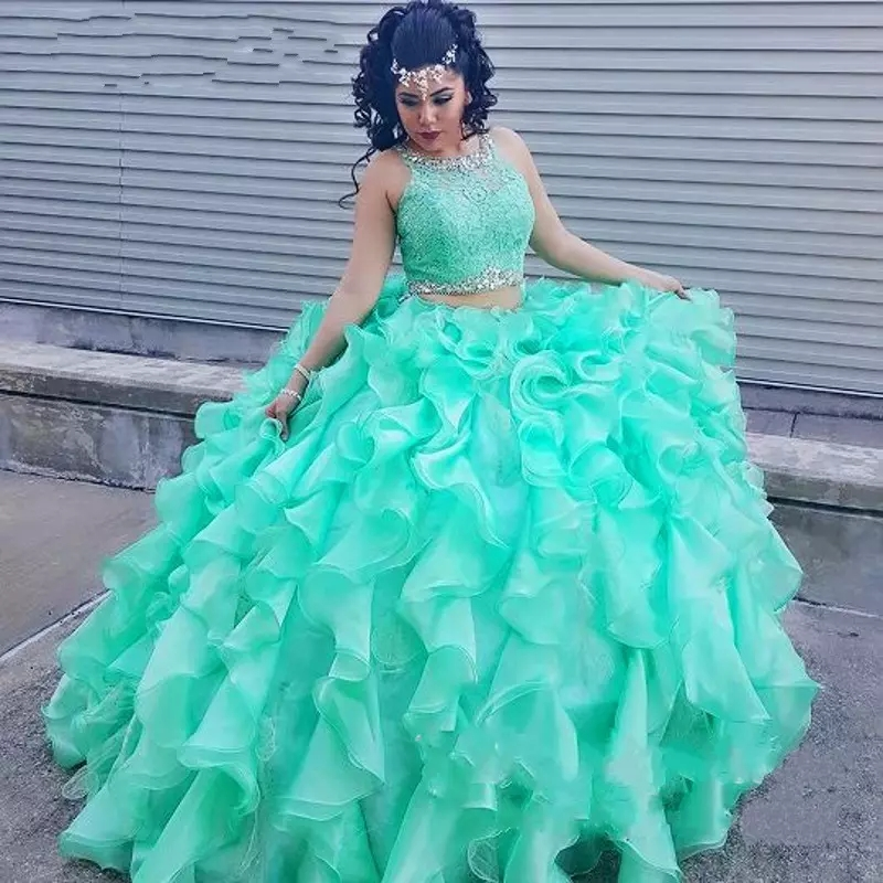 aaa1209ece0 Two Pieces Mint Green Quinceanera Dress 2019 Lace Top Crystal Beads Ball  Gown Ruffles Arabic Sweet 16 Girls Prom Party Gowns