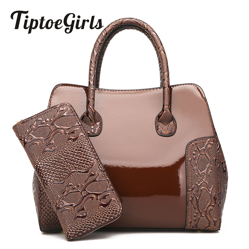 Tiptoegirls Patent Leather Bag Stitching Serpentine Two-Piece Composite Bag Fashion Handbag Wild Casual Women Handbag+Wallet