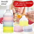 1pc Portable Solid Colors Baby Infant Food Snacks Feeding Milk Powder Storage Box Case Container 3 Layer Box powder milk Holder