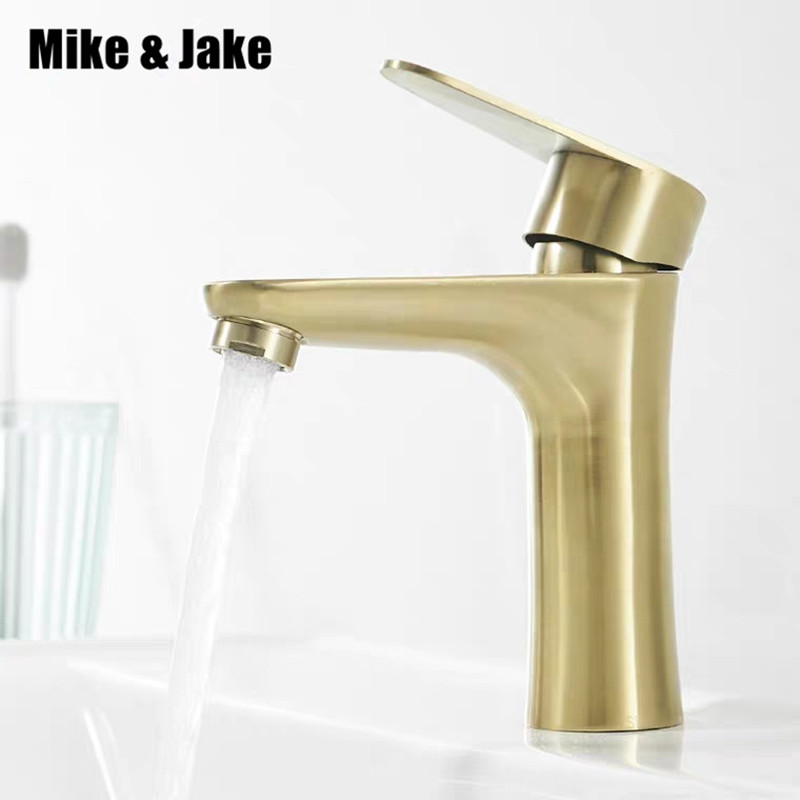 Gold brush basin faucet gold brass bathroom faucet single handle water tap gold brush sink tap