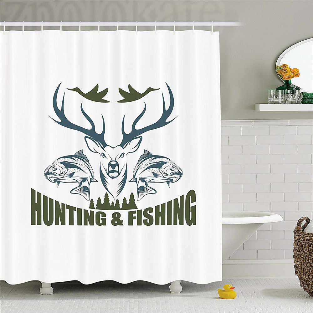 Hunting Decor Shower Curtain, Artistic Emblem Moose Head Horns