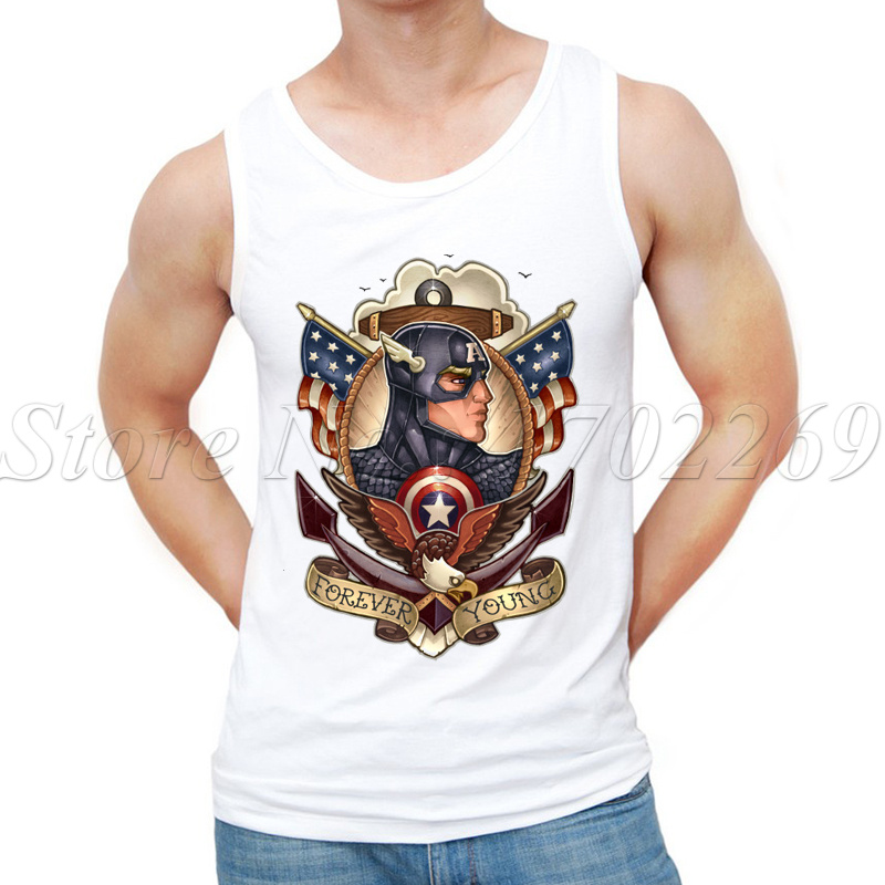 2017 Summer New Fashion Forever Youg design Men Tank tops Captain America Retro printed male custom Vest