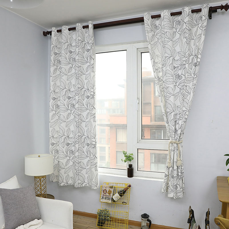 White Cotton Bedroom Curtains: Cotton Curtains Pastoral White Leaves Living Room Bedroom