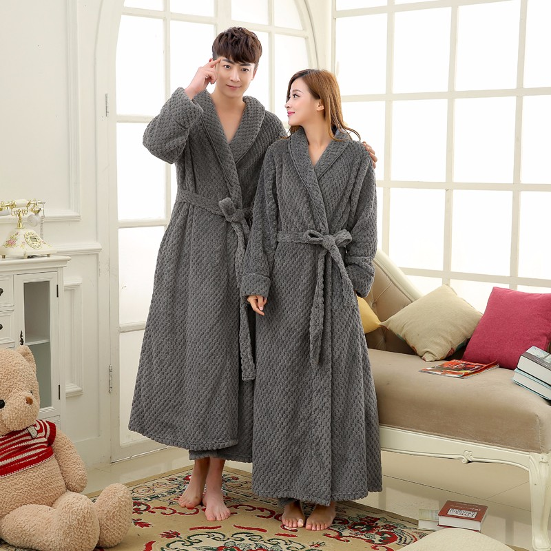 Waffle Bath Robe Flannel Coral Fleece -8