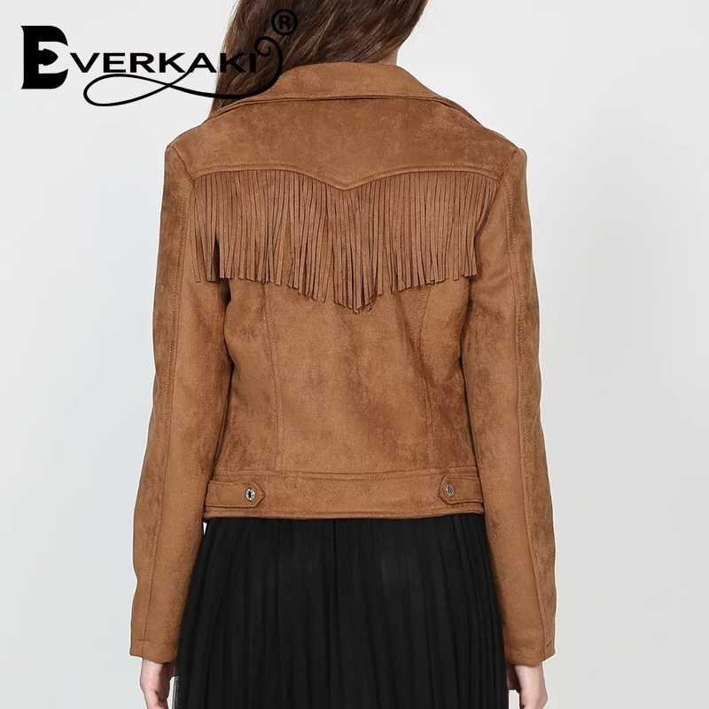 Everkaki 2020 primavera camurça nova jaqueta moda feminina bombardeiro quente jaqueta feminina casual rua moda jeans jaqueta outono chique