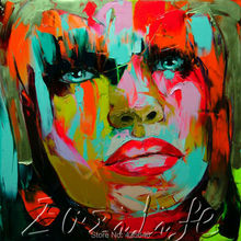 Palette knife portrait Face Oil painting christmas figure canva Hand painted Francoise Nielly wall Art picture220