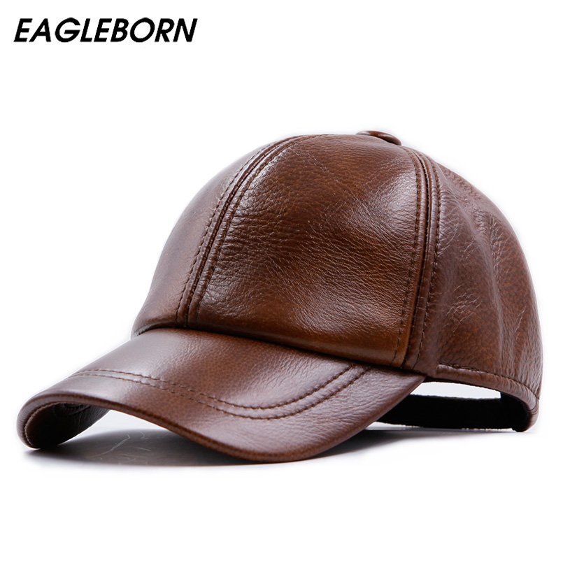 Fashion Design Leather Hat Man   Baseball     Cap   Women Hats Keep Warm Casual Winter   Caps   3 Colours Brown Cowhide sheepskin   cap