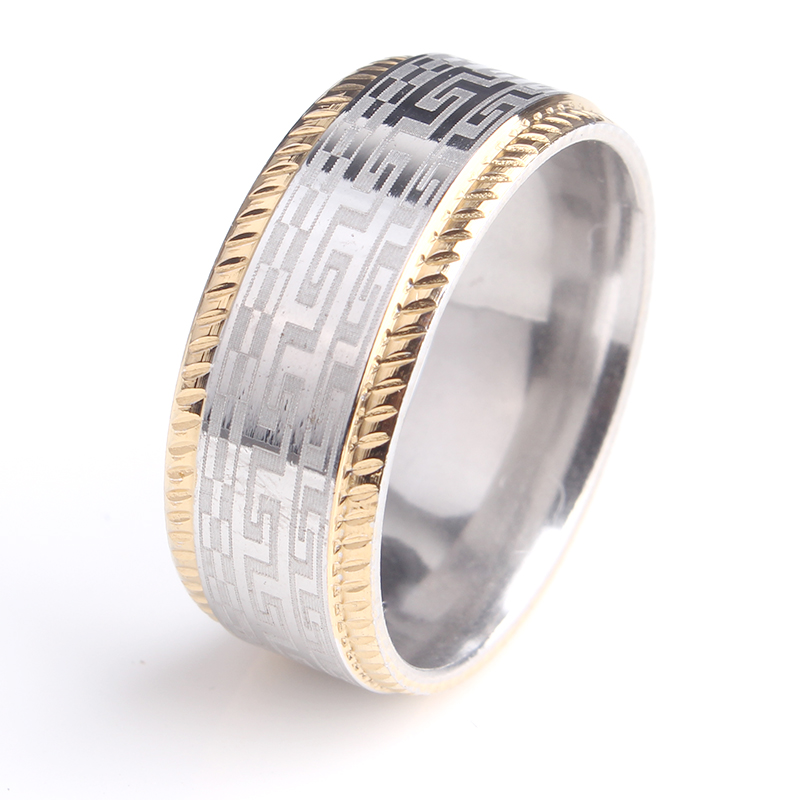 8mm Gold Color Border Gear Great 316L Stainless Steel Finger Rings For Men Women Wholesale In From Jewelry Accessories On Aliexpress