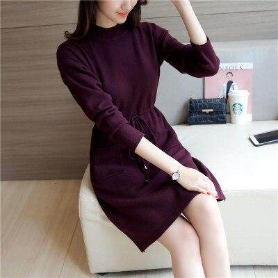 Autumn Winter Women Dress New Fashion Slim Long-sleeved Knitted Pullover Sweater Dress Half-height Collar Sweater Female YAGENZ