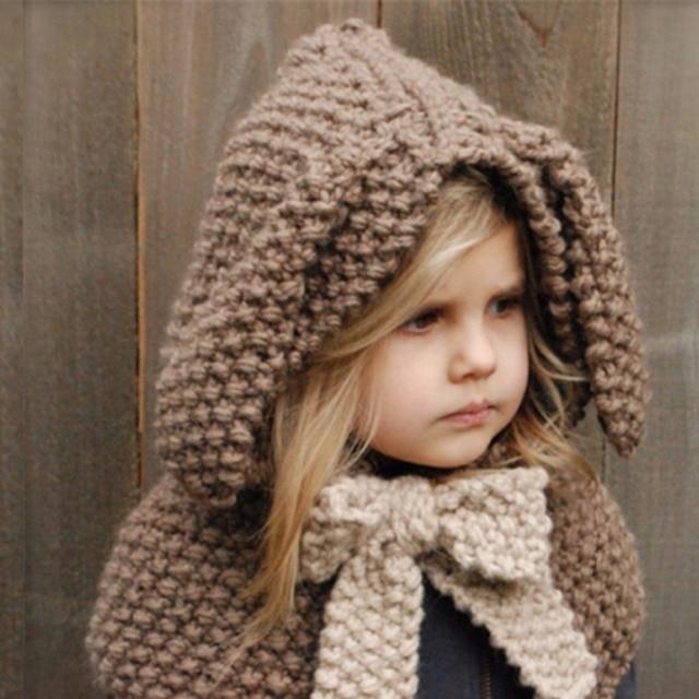 1ff7e992841 Fashion Puseky Winter Warm Baby Cap Children Knit Crochet Hat Animal Rabbit  Ear Cloak Cape Collar Ski Cap Kids Headwear