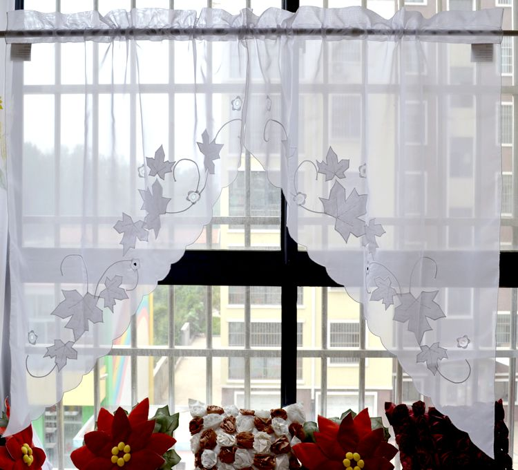 1 pair 76x96cm Fashion applique embroidered three-cornered head curtain valance for door window kitchen curtain blind