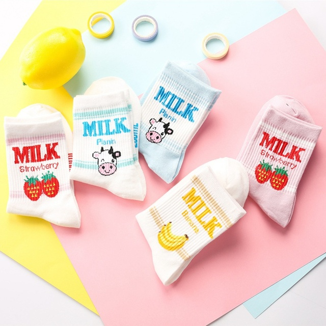 Kawaii Milk Patterned Socks
