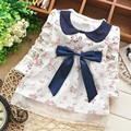 New Fashion Lace Baby Girls Cotton Dress Big Bow Infants Nice Floral Dresses