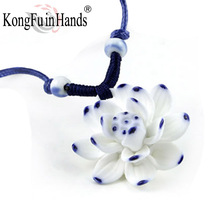 Handmake pretty Lotus long necklace blue whiteCeramic pendant classic vintage sweater chain jewelry birthday gift free shipping