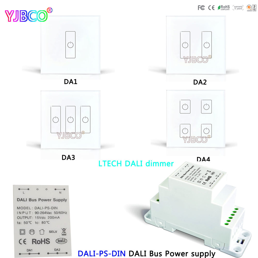 LTECH DALI-PS-DIN DALI Bus Power supply Dimming Driver;DA1 DA2 DA3 DA4 DALI Touch Panel Switch Dimmer for LED Lamps ltech dali ps din dali bus power supply din rail 100 240vac 50 60hz input 15vdc 200ma output dali dimming driver for led lights