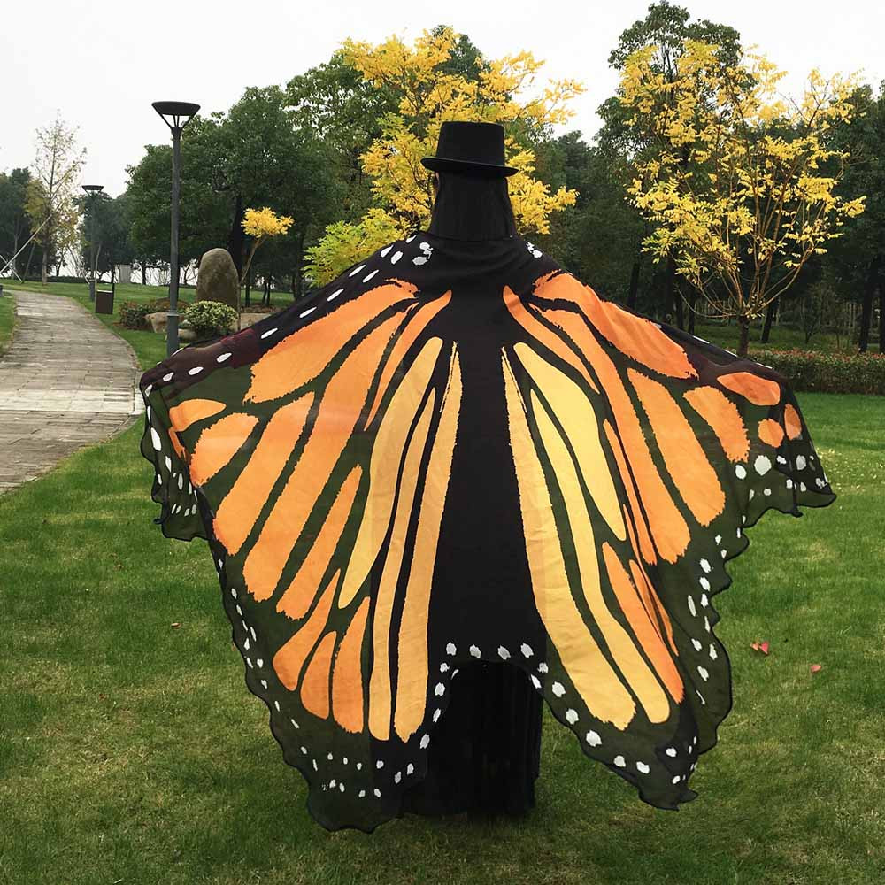 Belly Dance Butterfly Wings Shawl Women Girls Colorful Chiffon Carnival Costume Dresses For Girls Foulard Femme Drop Shipping C
