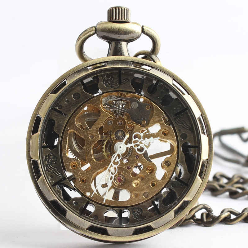 Antique Vintage Mens Bronze Skleton Mechanical Pocket Watch Hand Wind Watches with 37CM Chain Relogio bolso #92722 цена