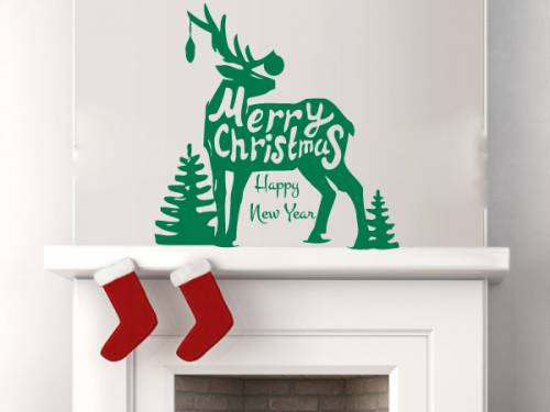 Merry Christmas Quote Wall Art Decal: Christmas Trees Silhouette With Reindeer And Merry