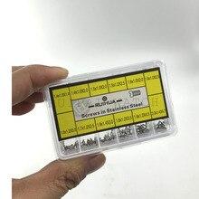 O envio gratuito de aço inoxidável plana assista parafusos em 12 tamanhos diferentes para reparação de parafusos substituição relógio