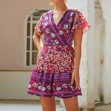 цены на Summer Women Ladies Short Sleeve Dress Boho Female Wrap Mini Holiday Beach Floral Casual Retro Ethnic Sexy Style Sundress V Neck  в интернет-магазинах