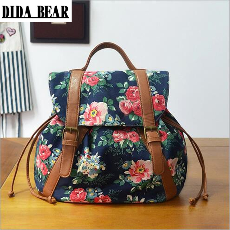 DIDA BEAR Women Fashion Canvas Backpack Flower Floral Print School Bags For Girls Teenagers Travel Bag Bolsas Mochilas Femininas