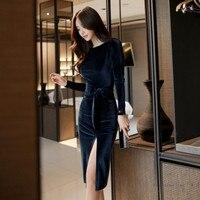 2017 зимние вечерние Офисные наряды для Для женщин с длинными рукавами Черный Bodycon Винтаж Vestidos бархатные платья Разделение Sheath Dress