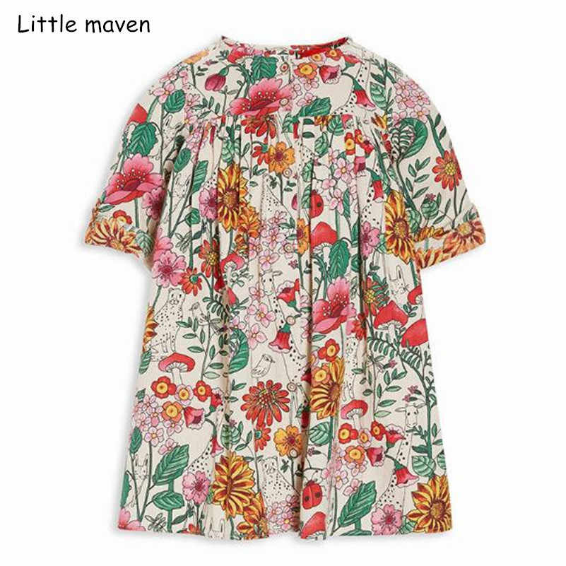 Little maven kids brand 2018 autumn new design children's dress baby girls clothes Cotton plant print girl dresses S0364
