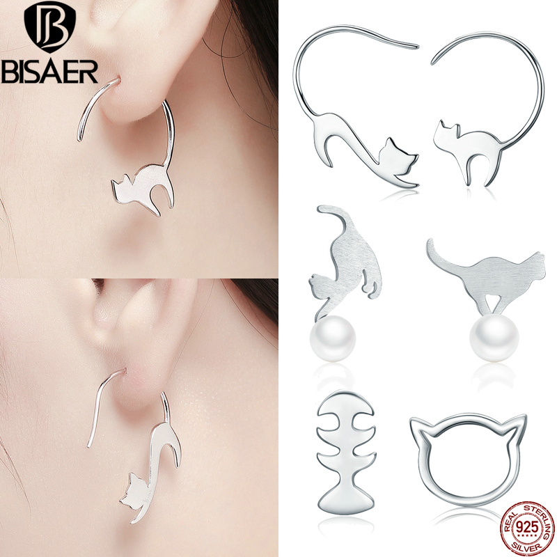 Cat Earrings 925 Sterling Silver Drop Earrings Cute Napping Pussy oggy Little Cat Drop Earrings for Women Silver Jewelry Gift цена 2017