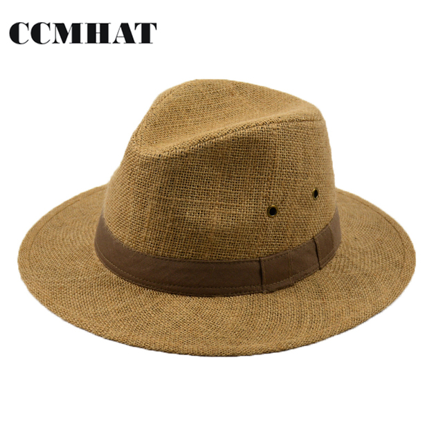 Men s Linen Fedoras Hats New High Quality Hemp Fedora Hat For Men Summer  Style Cotton Sweat Zone Decoration Linen Fedora Men Hat 9be6f8ba435