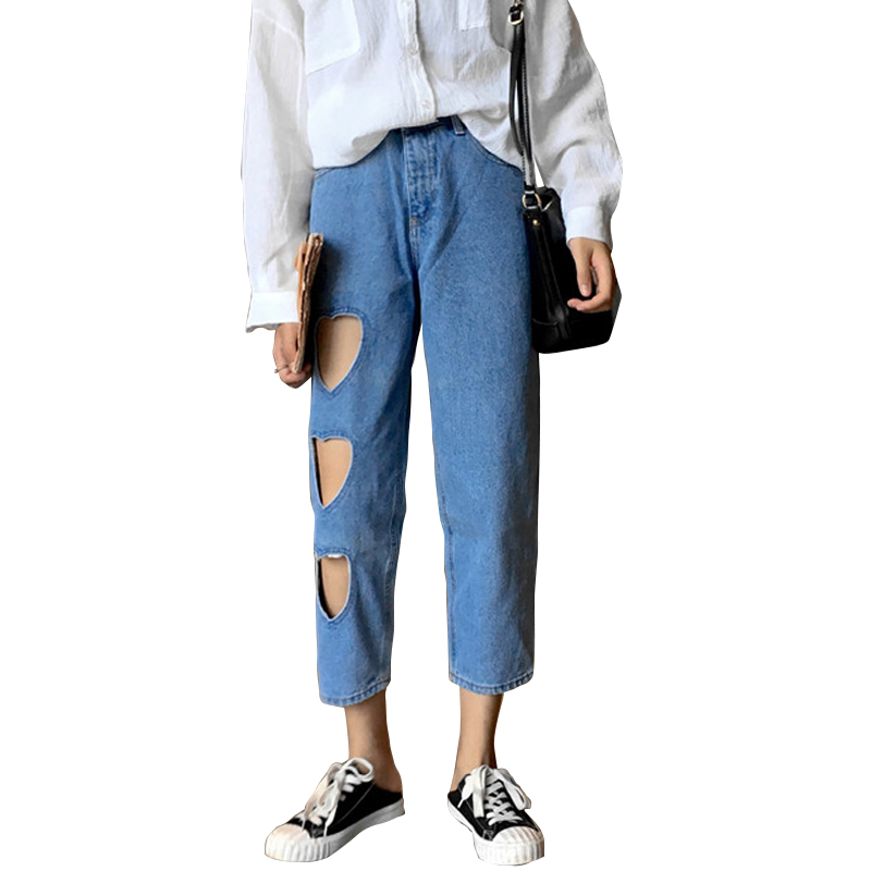 Heart Holes Harajuku Women Jeans 2017 Spring New Fashion Ripped Denim Pants Clothes Ankle-length Casual Loose Trousers 2017 spring new women sweet floral embroidery pastoralism denim jeans pockets ankle length pants ladies casual trouse top118