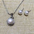 fine jewelry romantic natural pearls pendant necklace and stud earring set freshwater semi mount 925 sterling silver 6 color