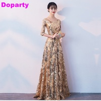 Sexy Plus Size Half Sleeves Lace Up Golden Elegant Long Party Floor Length Mother Of the Bride Dresses Evening Dress 2018 XS2