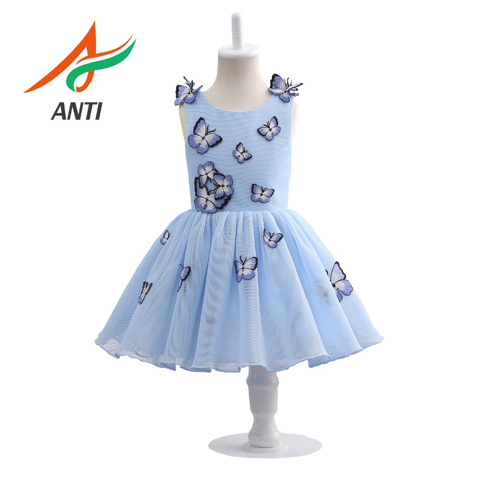 ANTI Navy Blue   Flower     Girl     Dress   For   Girl   First Communion Eucharist Wedding party Princess Lace   Dress   With Butterfly Applique
