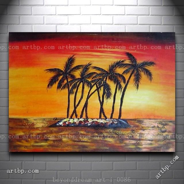 Pantai Pohon Kelapa Pohon Di Bawah Emas Sunset Lukisan Minyak