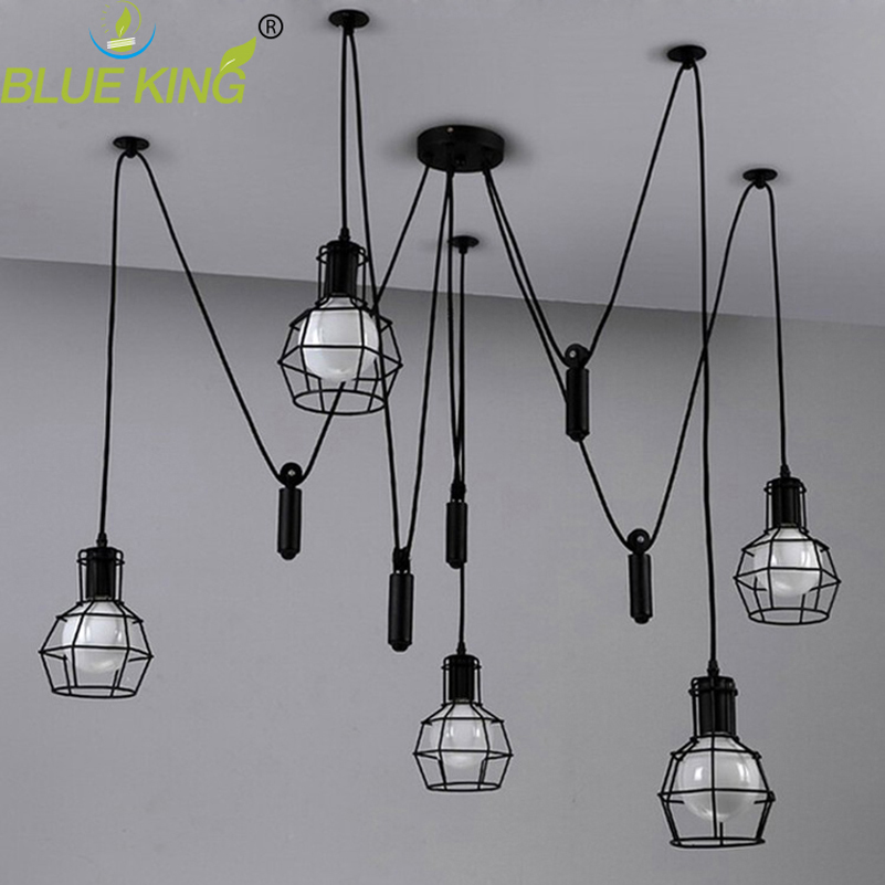 Iron cage spider Chandelier Loft Vintage industrial lifting pulley light Edison Lamps for Dining Room Creative Lighting 3/5/6/8Iron cage spider Chandelier Loft Vintage industrial lifting pulley light Edison Lamps for Dining Room Creative Lighting 3/5/6/8