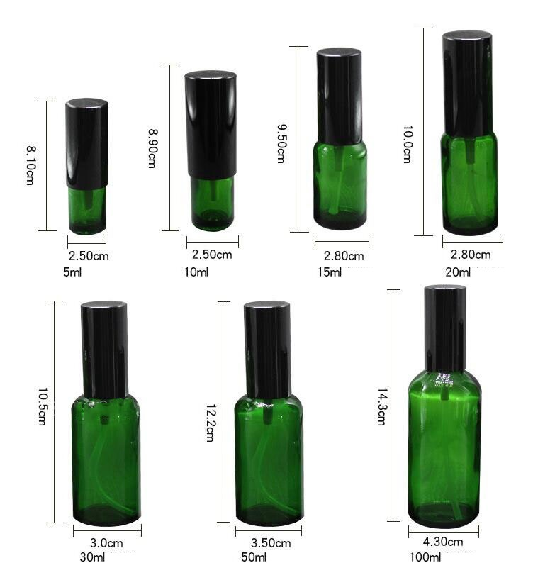 15g 30g 50g Cream Glass Bottle Set Essence Vial Green Spray Refillable Bottle Toner Bottle Lotion Pump Cosmetic Containers Jar  (11)