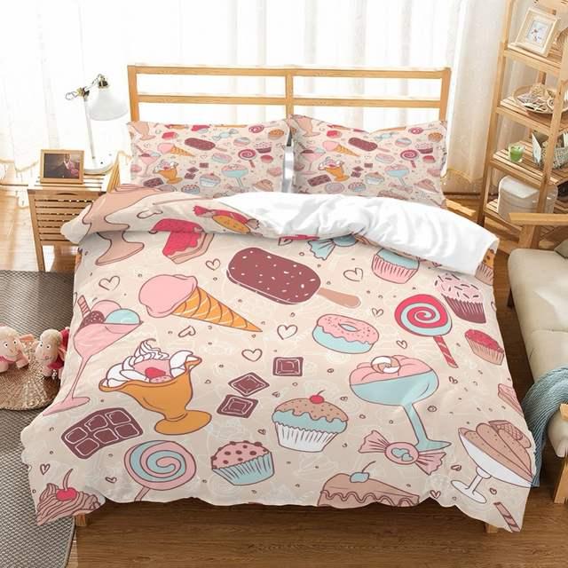 Blush Pink Bedding Sets.Us 5 09 49 Off Icecream Girls Kids Duvet Cover Set Icecream Chocolate Doughnuts Candy Blush Pink Bedding Set 3pcs 1 Duvet Cover 2 Pillow Sham In