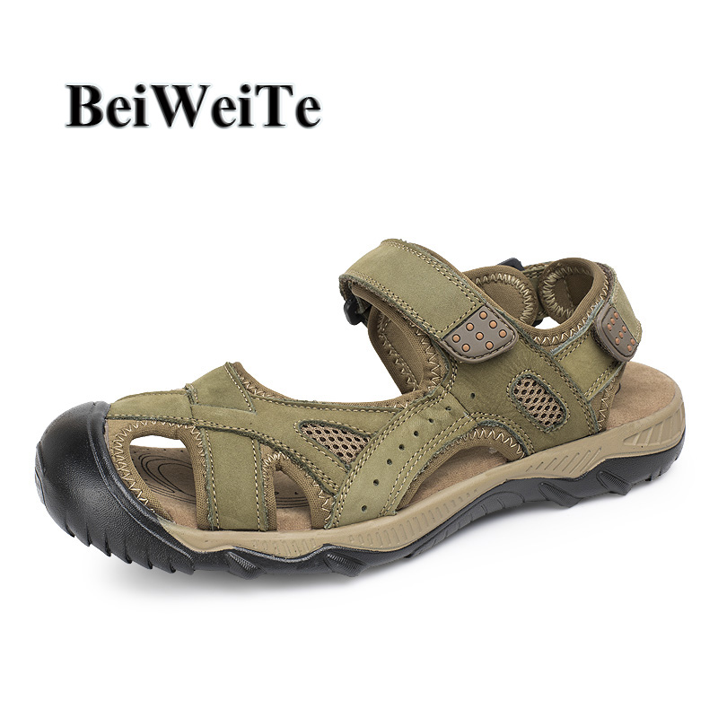 BeiWeiTe Mens Summer Genuine Leather Sandals Big Size Anti-skid Beach Outdoor Water Shoes Men Fisherman Walking Tourist Sneakers