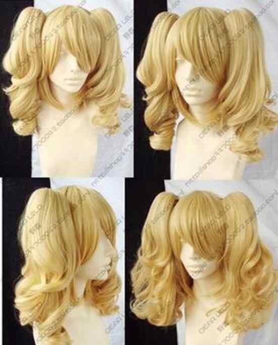 Wig  Hot! New Blonde Mixed Cosplay Split -Type Wig And With 2 PigTails Free Shipping