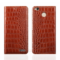 Magnetic Flip Cover Case For Xiaomi Redmi 4X 5 0 Luxury Crocodile Lines Genuine Leather Mobile