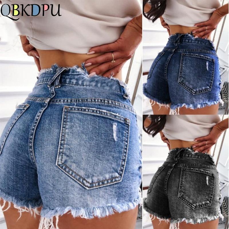 Women Summer Denim Shorts Slim Ripped Hole Jean Short Femme Skinny Shorts With Tassel Vintage Blue High Waist Jean Shorts