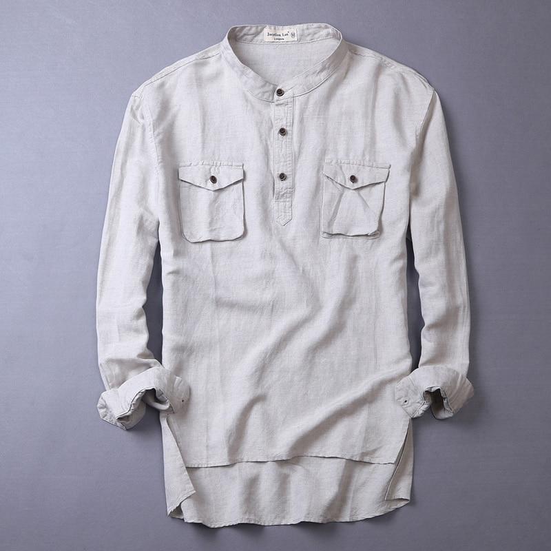 Unique designer long sleeve linen shirts men fashion for Unusual shirts for men