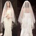 Laço do marfim Dois-Camada de acessórios Do Casamento Véu véu de noiva Véu de noiva de Tule com Apliques voile mariage