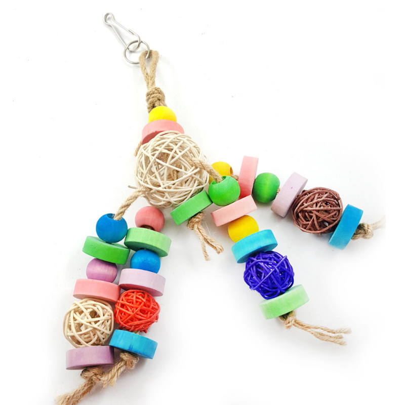 Parrot Bird Toy Colorful Sepak Rattan Balls Hang Parrot Beak Grinding Cages Bite Chewing Toys Bird cage decoration accessories in Bird Toys from Home Garden