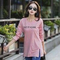 S 4XL Spring And Summer Female O Neck Medium Long Basic T Shirt Women S All