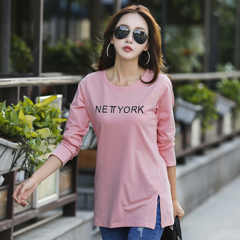 S-4XL Spring And Summer Female O-neck Medium-long Basic T-shirt Women's All-match Long-sleeve T-shirt Cotton Plus Size Loose Top maternity clothing summer one piece dress cotton medium long 100% plus size maternity top t shirt summer short sleeve loose long