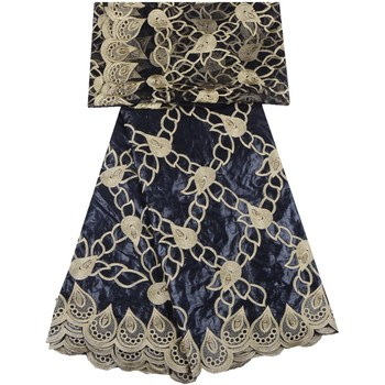 2019 India Bazin Riche Getzner Lace Black Color Embroidered African Bazin Riche Getzner With Tulle Lace Fabric For Women 1302
