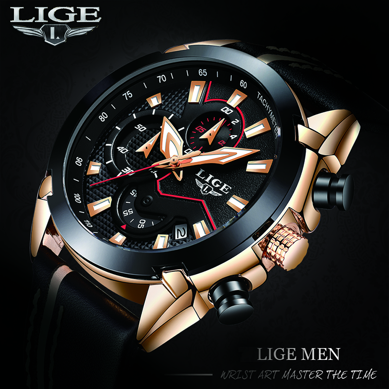 Men Watch 2018 New Design Fashion LIGE Brand Watch Men Leather Business Chronograph Quartz-Watch Male Gifts Watch
