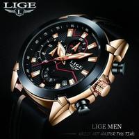 Men Watch 2018 New Design Fashion LIGE Brand Watch Men Leather Business Chronograph Quartz Watch Male Gifts Watch
