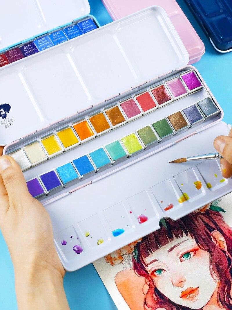 12/24/48 couleur Rubens solide perle aquarelle peinture petite boîte de poudre niveau maître artiste portable costume débutant art fournitures